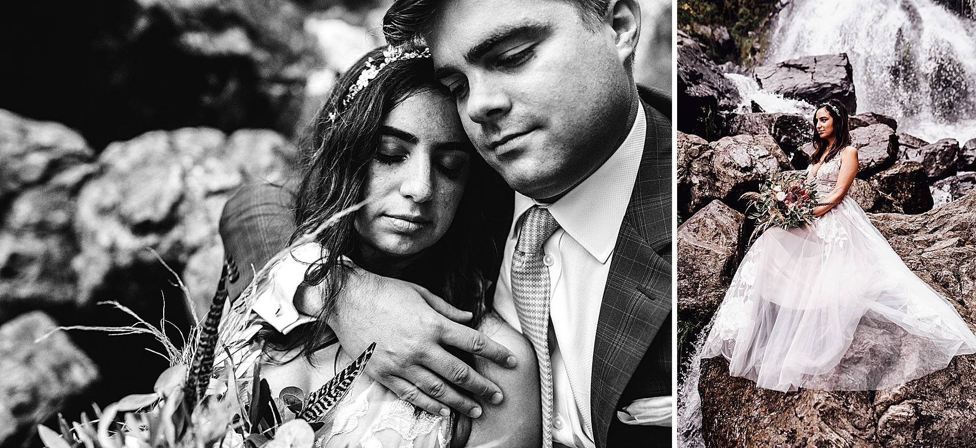 Brautpaar vor den Totdnauer Wasserfällen